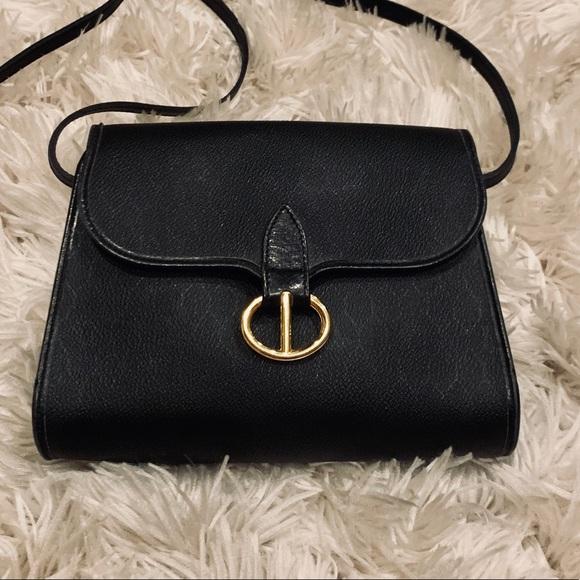 24a5ffc118 Dior Bags | Vintage Christian Black Leather Crossbody Bag | Poshmark
